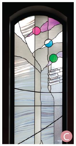Clear, purple, blue and green stained glass