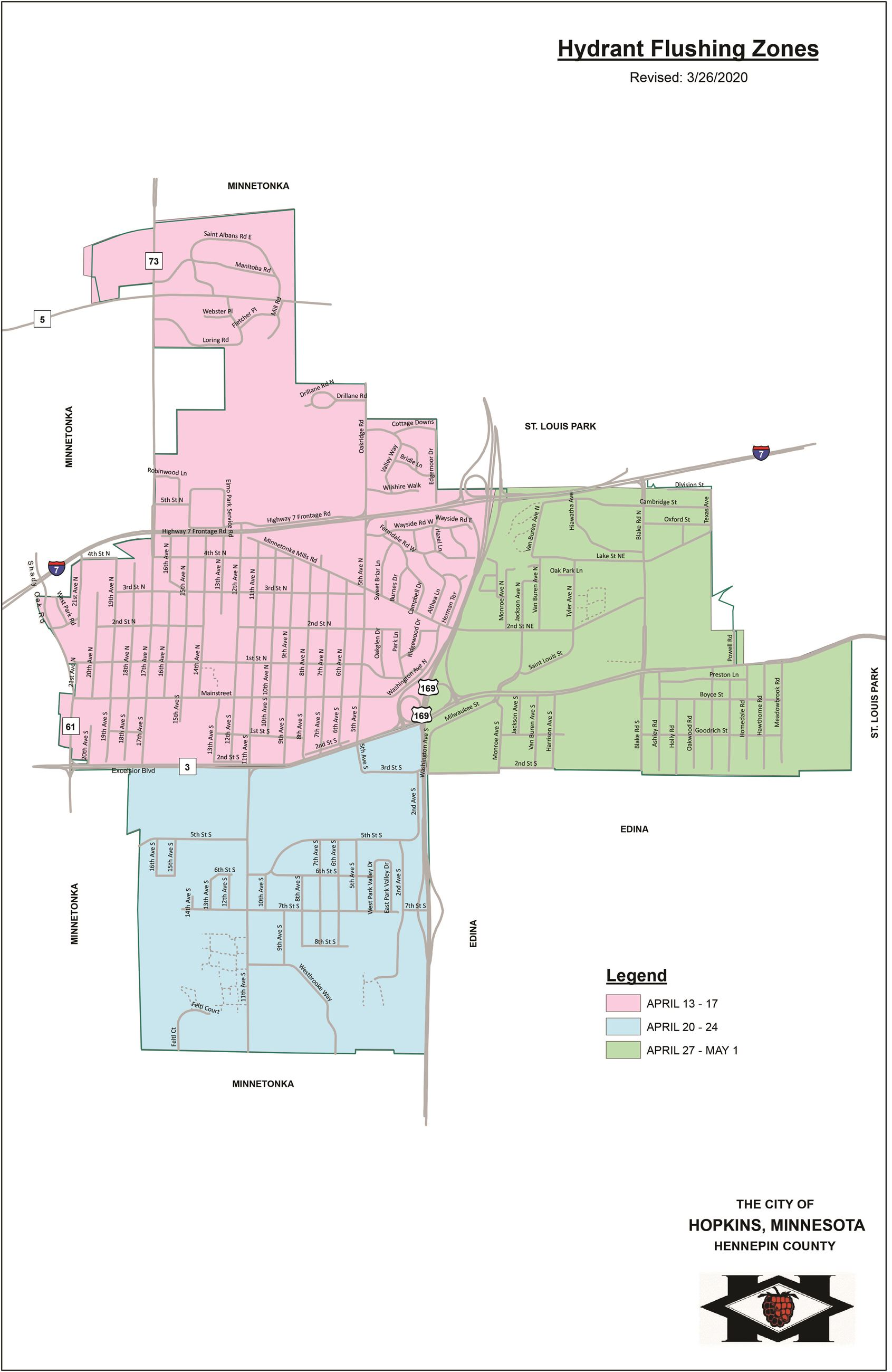 2020 Hydrant Flushing Zones Map